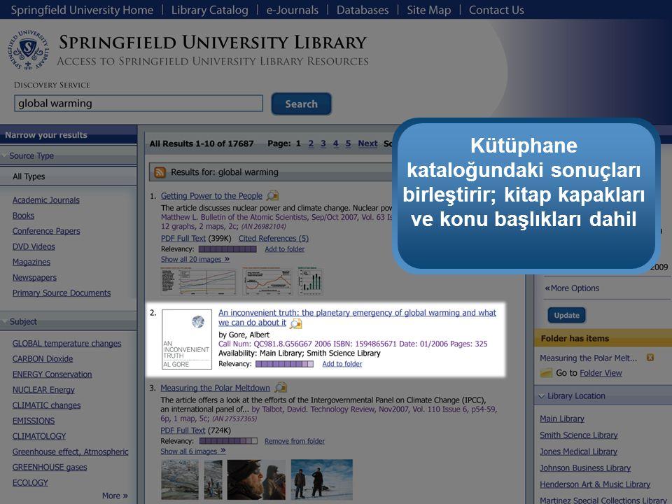 Kütüphane kataloğundaki sonuçları birleştirir; kitap kapakları ve konu başlıkları dahil
