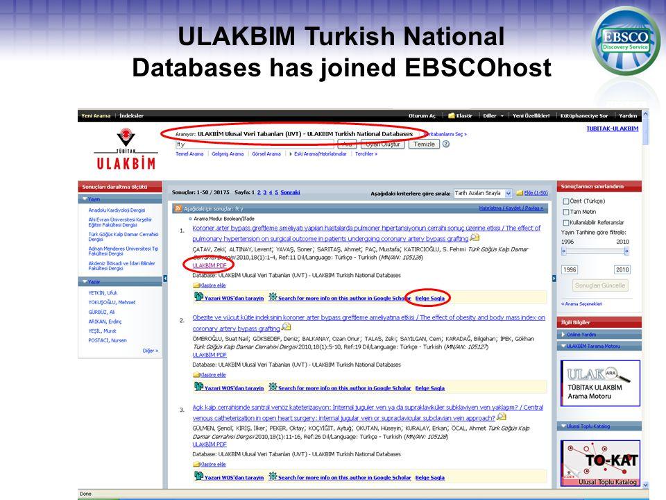 EBSCO'ya ait olmayan kaynaklardan kayıtları görebilme