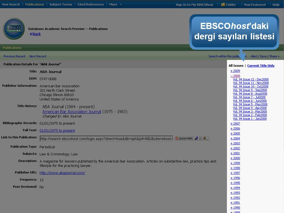 EBSCOhost'daki dergi sayıları listesi