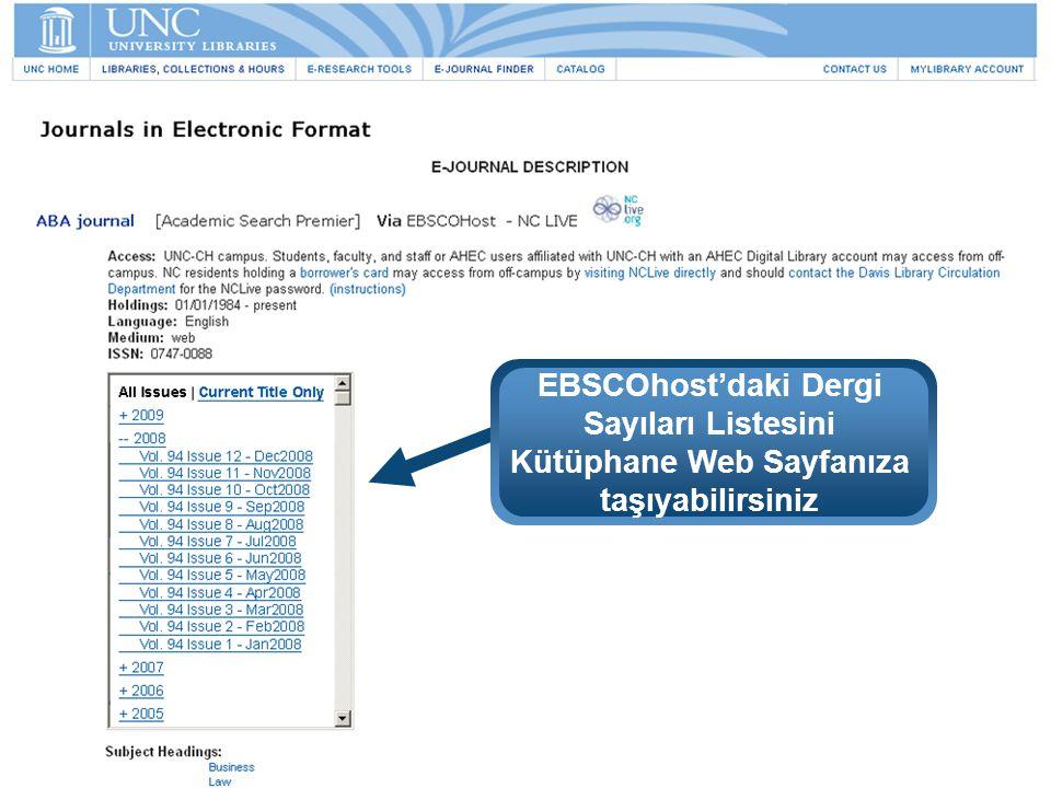 EBSCOhost'daki Dergi Sayıları Listesini Kütüphane Web Sayfanıza taşıyabilirsiniz