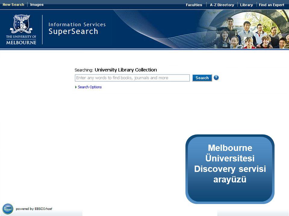 Melbourne Üniversitesi Discovery servisi arayüzü