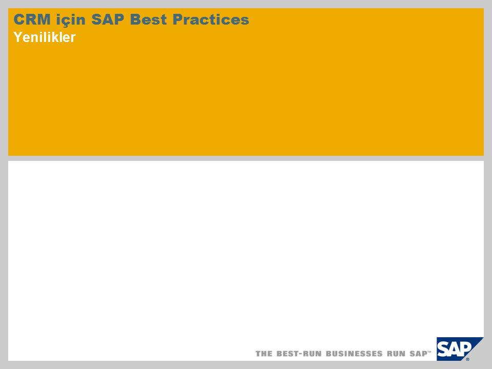 CRM için SAP Best Practices Yenilikler
