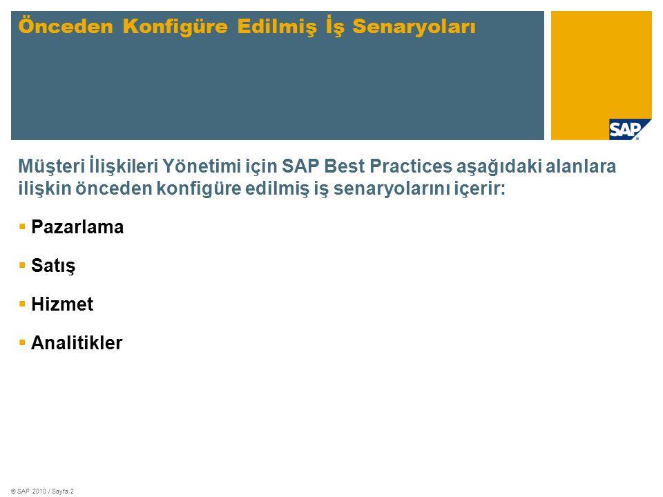 © SAP 2010 / Sayfa 2 Müşteri İlişkileri Yönetimi için SAP Best Practices aşağıdaki alanlara ilişkin önceden konfigüre edilmiş iş senaryolarını içerir:  Pazarlama  Satış  Hizmet  Analitikler Önceden Konfigüre Edilmiş İş Senaryoları