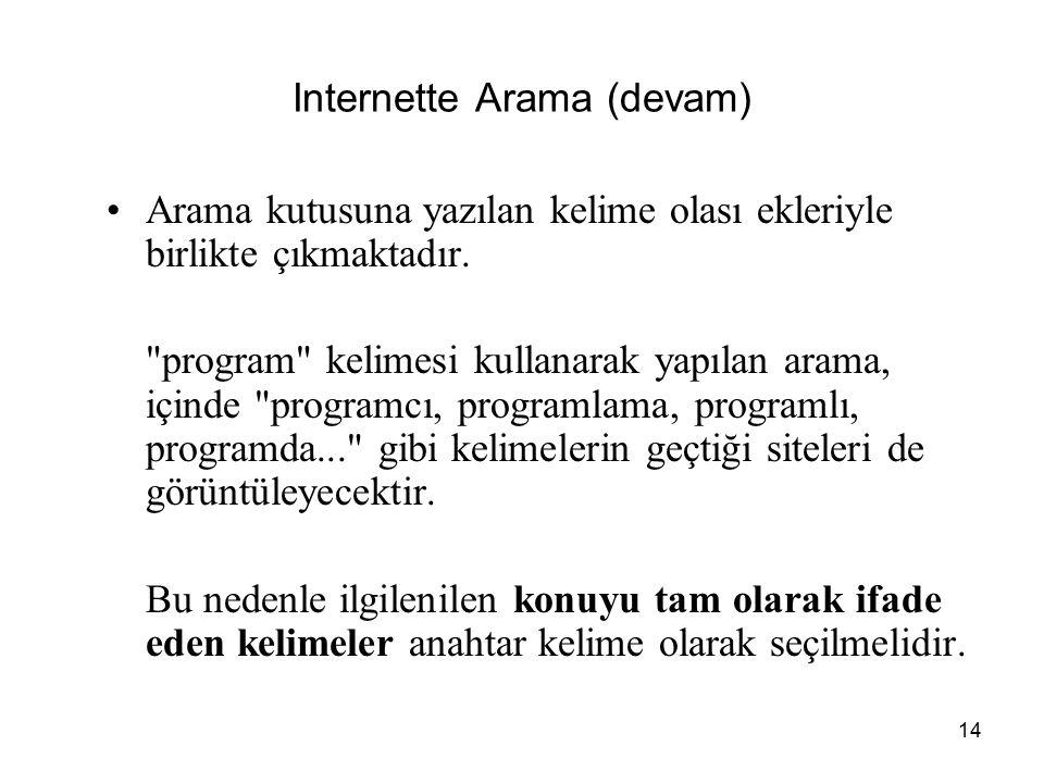 14 Internette Arama (devam) Arama kutusuna yazılan kelime olası ekleriyle birlikte çıkmaktadır.