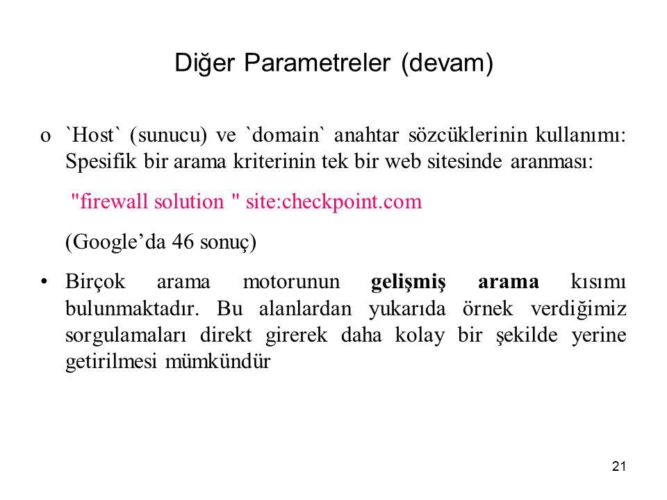 21 Diğer Parametreler (devam) o`Host` (sunucu) ve `domain` anahtar sözcüklerinin kullanımı: Spesifik bir arama kriterinin tek bir web sitesinde aranma