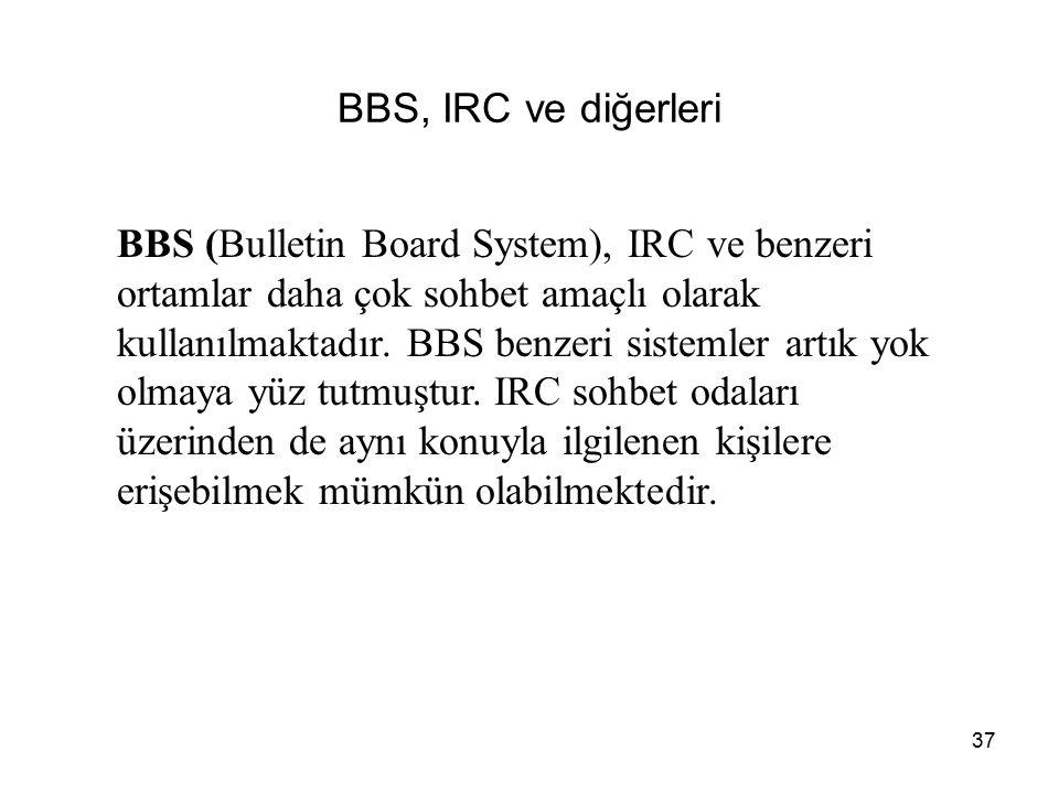 37 BBS, IRC ve diğerleri BBS (Bulletin Board System), IRC ve benzeri ortamlar daha çok sohbet amaçlı olarak kullanılmaktadır. BBS benzeri sistemler ar