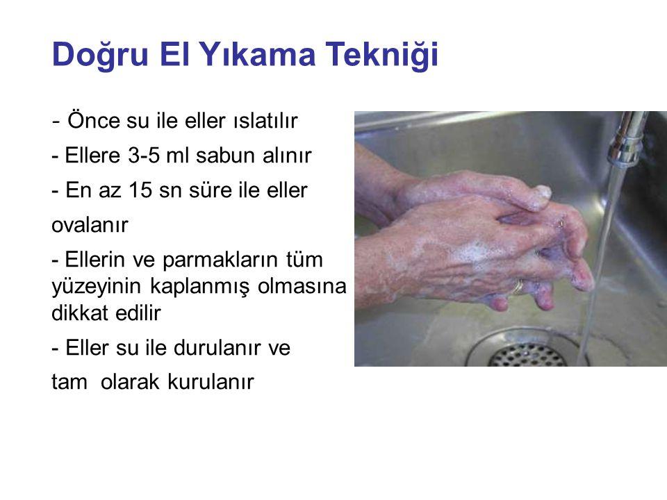 - Önce su ile eller ıslatılır - Ellere 3-5 ml sabun alınır - En az 15 sn süre ile eller ovalanır - Ellerin ve parmakların tüm yüzeyinin kaplanmış olma
