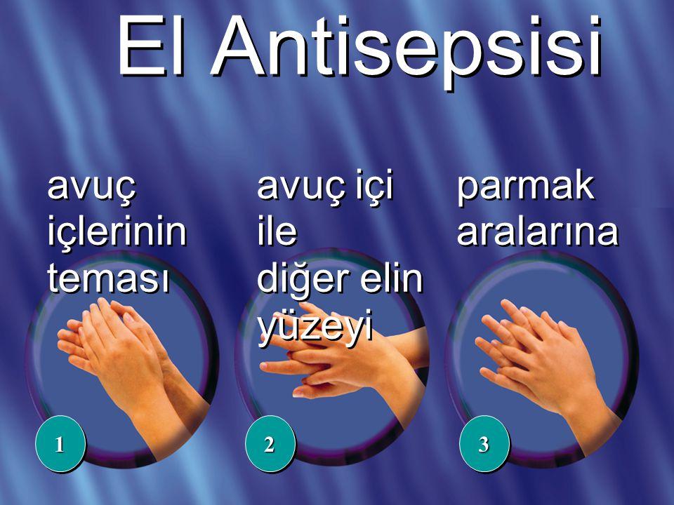 avuç içlerinin teması avuç içi ile diğer elin yüzeyi 112233 parmak aralarına El Antisepsisi