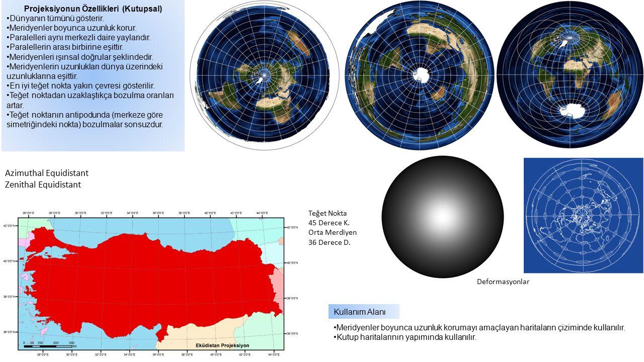 Projeksiyonun Özellikleri (Kutupsal) Dünyanın tümünü gösterir. Meridyenler boyunca uzunluk korur. Paralelleri aynı merkezli daire yaylarıdır. Paralell