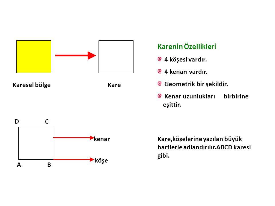 Karesel bölgeKare Karenin Özellikleri 4 köşesi vardır. 4 kenarı vardır. Geometrik bir şekildir. Kenar uzunlukları birbirine eşittir. AB DC kenar köşe
