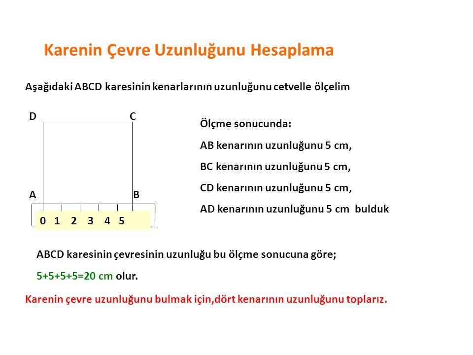 Karenin Çevre Uzunluğunu Hesaplama Aşağıdaki ABCD karesinin kenarlarının uzunluğunu cetvelle ölçelim 0 1 2 3 4 5 AB CD Ölçme sonucunda: AB kenarının u