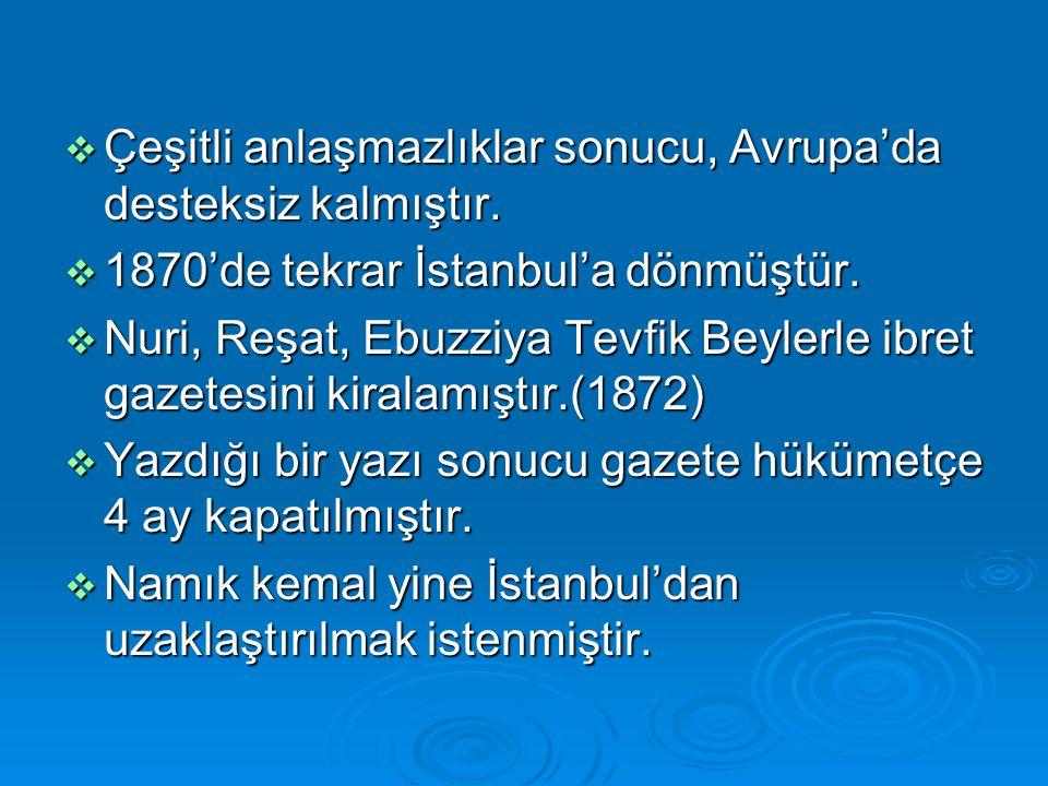  Çeşitli anlaşmazlıklar sonucu, Avrupa'da desteksiz kalmıştır.  1870'de tekrar İstanbul'a dönmüştür.  Nuri, Reşat, Ebuzziya Tevfik Beylerle ibret g
