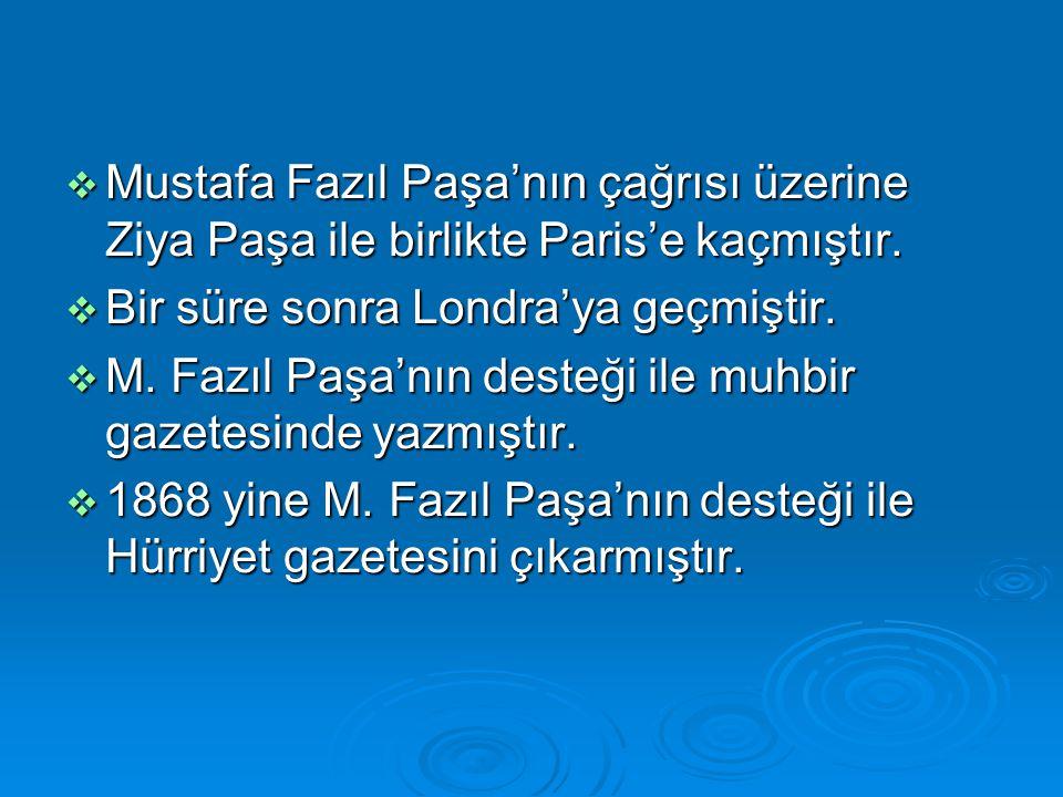  Mustafa Fazıl Paşa'nın çağrısı üzerine Ziya Paşa ile birlikte Paris'e kaçmıştır.  Bir süre sonra Londra'ya geçmiştir.  M. Fazıl Paşa'nın desteği i