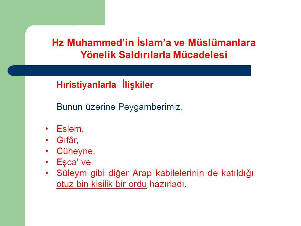 Hz Muhammed'in İslam'a ve Müslümanlara Yönelik Saldırılarla Mücadelesi Hıristiyanlarla İlişkiler Bunun üzerine Peygamberimiz, Eslem, Gıfâr, Cüheyne, E
