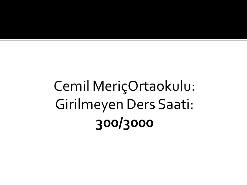 Cemil MeriçOrtaokulu: Girilmeyen Ders Saati: 300/3000