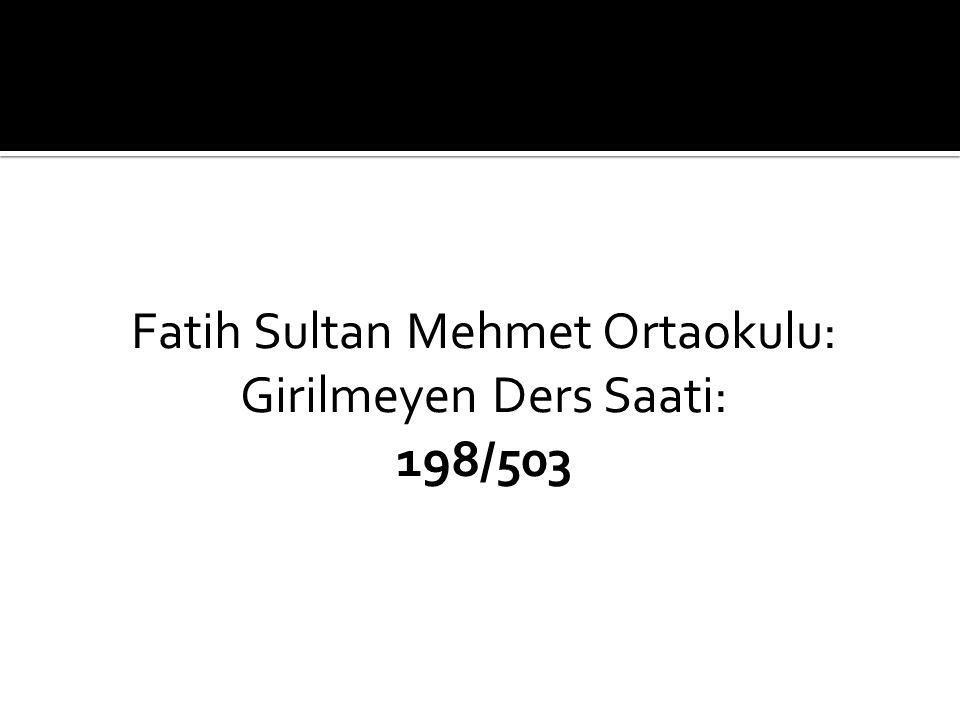 Fatih Sultan Mehmet Ortaokulu: Girilmeyen Ders Saati: 198/503
