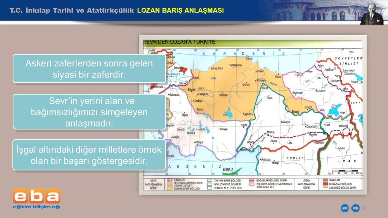 T.C. İnkılap Tarihi ve Atatürkçülük LOZAN BARIŞ ANLAŞMASI 12