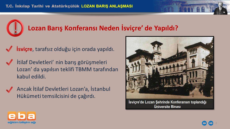 2 İsviçre, tarafsız olduğu için orada yapıldı. Lozan Barış Konferansı Neden İsviçre' de Yapıldı? İtilaf Devletleri' nin barış görüşmeleri Lozan' da ya