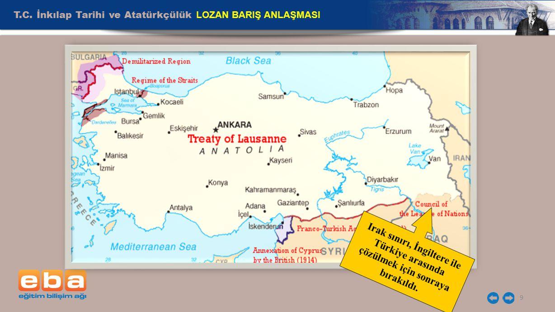 T.C. İnkılap Tarihi ve Atatürkçülük LOZAN BARIŞ ANLAŞMASI 9