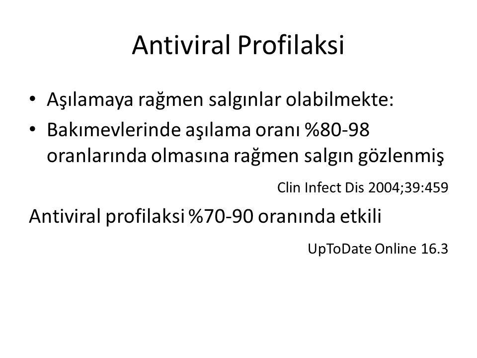 Antiviral Profilaksi Aşılamaya rağmen salgınlar olabilmekte: Bakımevlerinde aşılama oranı %80-98 oranlarında olmasına rağmen salgın gözlenmiş Clin Infect Dis 2004;39:459 Antiviral profilaksi %70-90 oranında etkili UpToDate Online 16.3