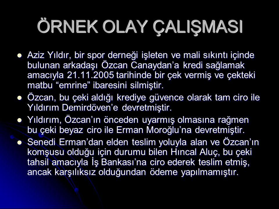 ÖRNEK OLAY ÇALIŞMASI Aziz Yıldır, bir spor derneği işleten ve mali sıkıntı içinde bulunan arkadaşı Özcan Canaydan'a kredi sağlamak amacıyla 21.11.2005