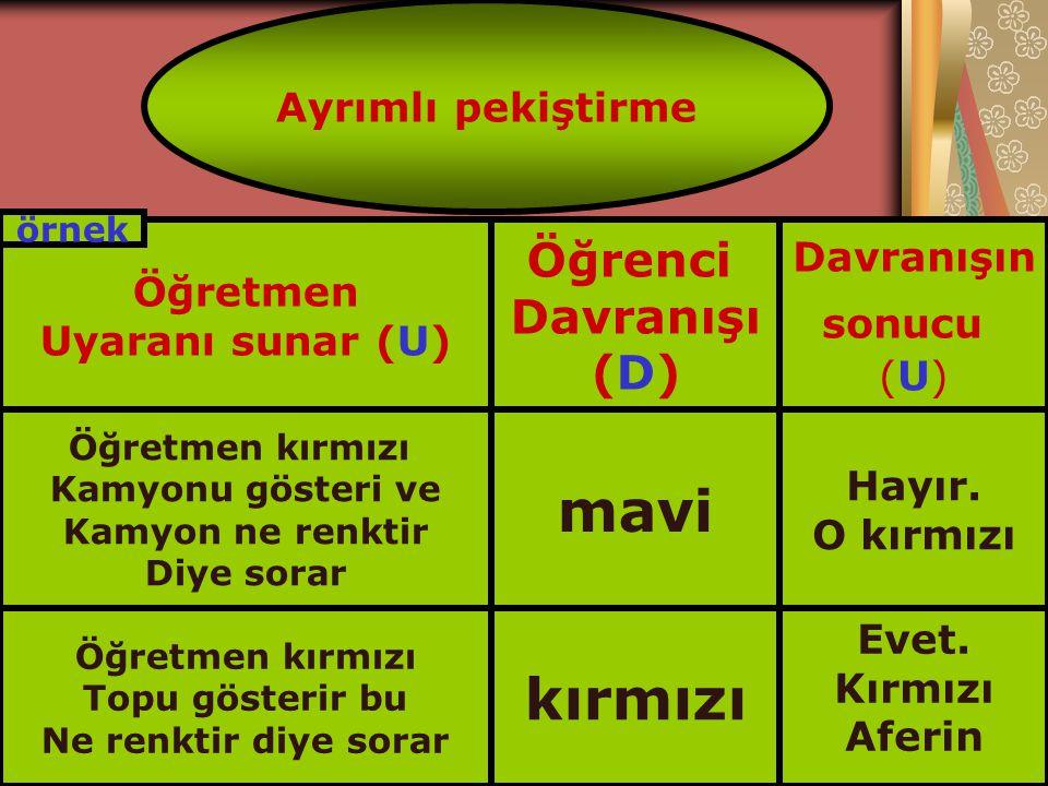 Ayrımlı pekiştirme Öğretmen Uyaranı sunar (U) Öğrenci Davranışı (D) Davranışın sonucu (U) Öğretmen kırmızı Kamyonu gösteri ve Kamyon ne renktir Diye s