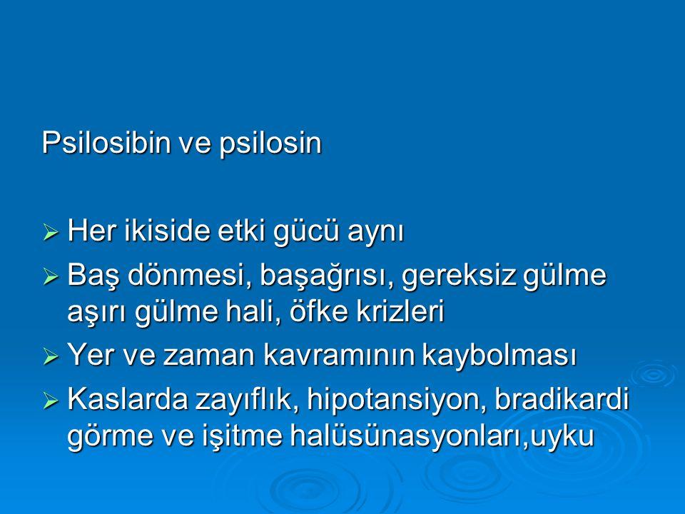 Psilosibin ve psilosin  Her ikiside etki gücü aynı  Baş dönmesi, başağrısı, gereksiz gülme aşırı gülme hali, öfke krizleri  Yer ve zaman kavramının kaybolması  Kaslarda zayıflık, hipotansiyon, bradikardi görme ve işitme halüsünasyonları,uyku