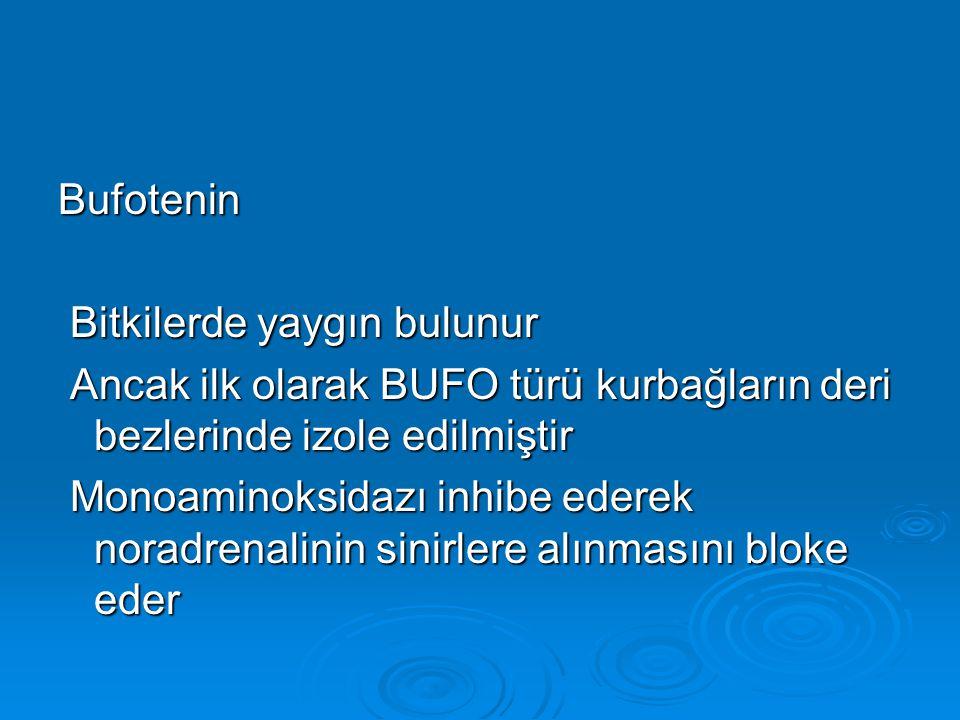 Bufotenin Bitkilerde yaygın bulunur Bitkilerde yaygın bulunur Ancak ilk olarak BUFO türü kurbağların deri bezlerinde izole edilmiştir Ancak ilk olarak BUFO türü kurbağların deri bezlerinde izole edilmiştir Monoaminoksidazı inhibe ederek noradrenalinin sinirlere alınmasını bloke eder Monoaminoksidazı inhibe ederek noradrenalinin sinirlere alınmasını bloke eder