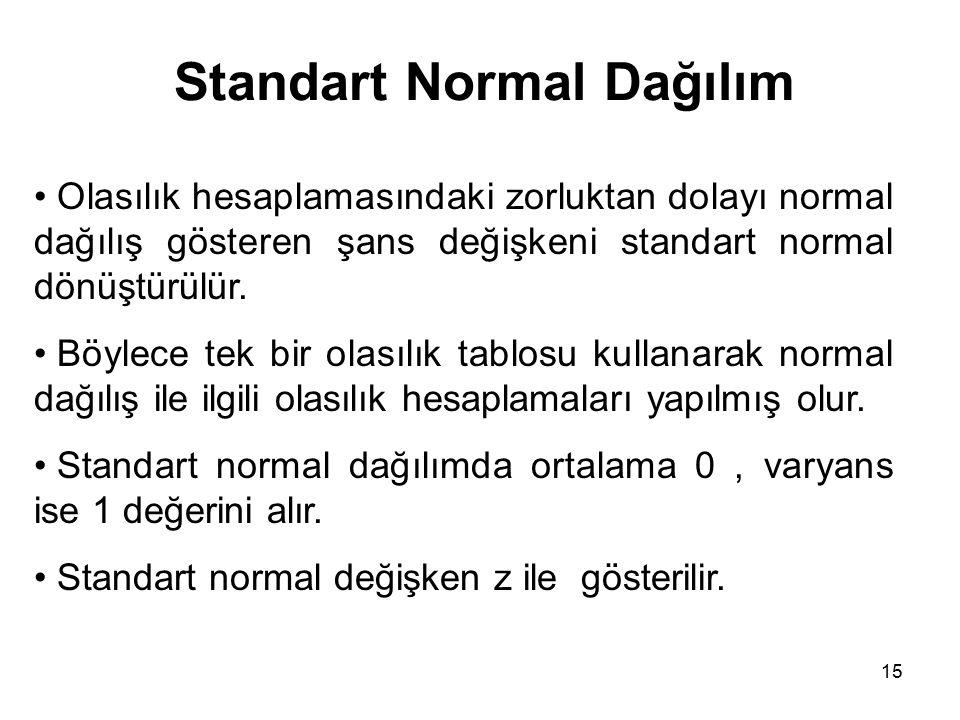 15 Standart Normal Dağılım Olasılık hesaplamasındaki zorluktan dolayı normal dağılış gösteren şans değişkeni standart normal dönüştürülür. Böylece tek