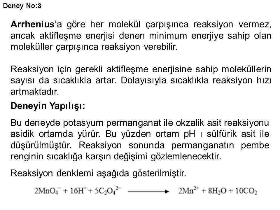 Deney No:3 Arrhenius'a göre her molekül çarpışınca reaksiyon vermez, ancak aktifleşme enerjisi denen minimum enerjiye sahip olan moleküller çarpışınca reaksiyon verebilir.