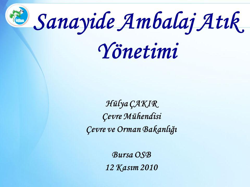 Sanayide Ambalaj Atık Yönetimi Hülya ÇAKIR Çevre Mühendisi Çevre ve Orman Bakanlığı Bursa OSB 12 Kasım 2010