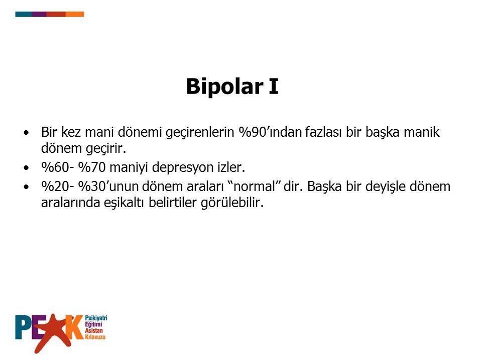 Bipolar I Bir kez mani dönemi geçirenlerin %90'ından fazlası bir başka manik dönem geçirir.