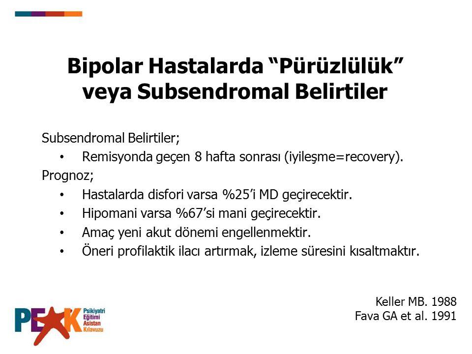 Bipolar Hastalarda Pürüzlülük veya Subsendromal Belirtiler Subsendromal Belirtiler; Remisyonda geçen 8 hafta sonrası (iyileşme=recovery).