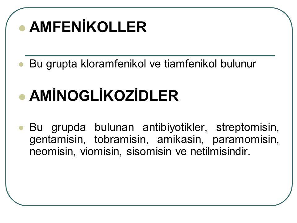 AMFENİKOLLER Bu grupta kloramfenikol ve tiamfenikol bulunur AMİNOGLİKOZİDLER Bu grupda bulunan antibiyotikler, streptomisin, gentamisin, tobramisin, a
