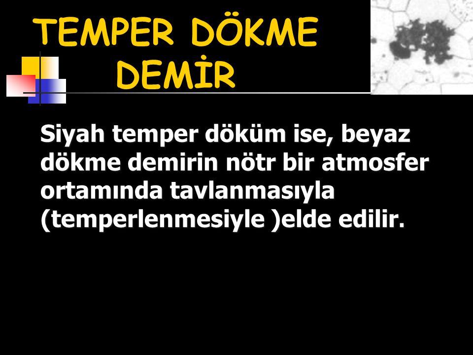 Siyah temper döküm ise, beyaz dökme demirin nötr bir atmosfer ortamında tavlanmasıyla (temperlenmesiyle )elde edilir. TEMPER DÖKME DEMİR