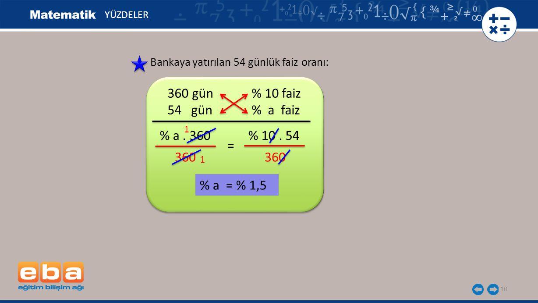 11 YÜZDELER 1800 liranın alacağı faiz: 54 gün sonunda bankadaki para: 1800 + 27 = 1827 lira olur.