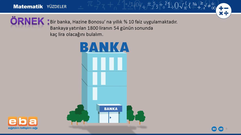10 YÜZDELER Bankaya yatırılan 54 günlük faiz oranı: 360 gün% 10 faiz 54 gün% a faiz % a.