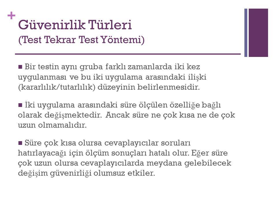 + Güvenirlik Türleri (Test Tekrar Test Yöntemi) Bir testin aynı gruba farklı zamanlarda iki kez uygulanması ve bu iki uygulama arasındaki ili ş ki (ka