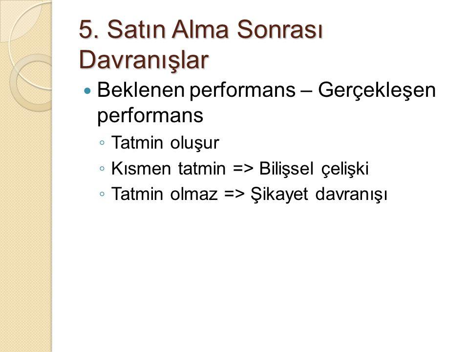5. Satın Alma Sonrası Davranışlar Beklenen performans – Gerçekleşen performans ◦ Tatmin oluşur ◦ Kısmen tatmin => Bilişsel çelişki ◦ Tatmin olmaz => Ş