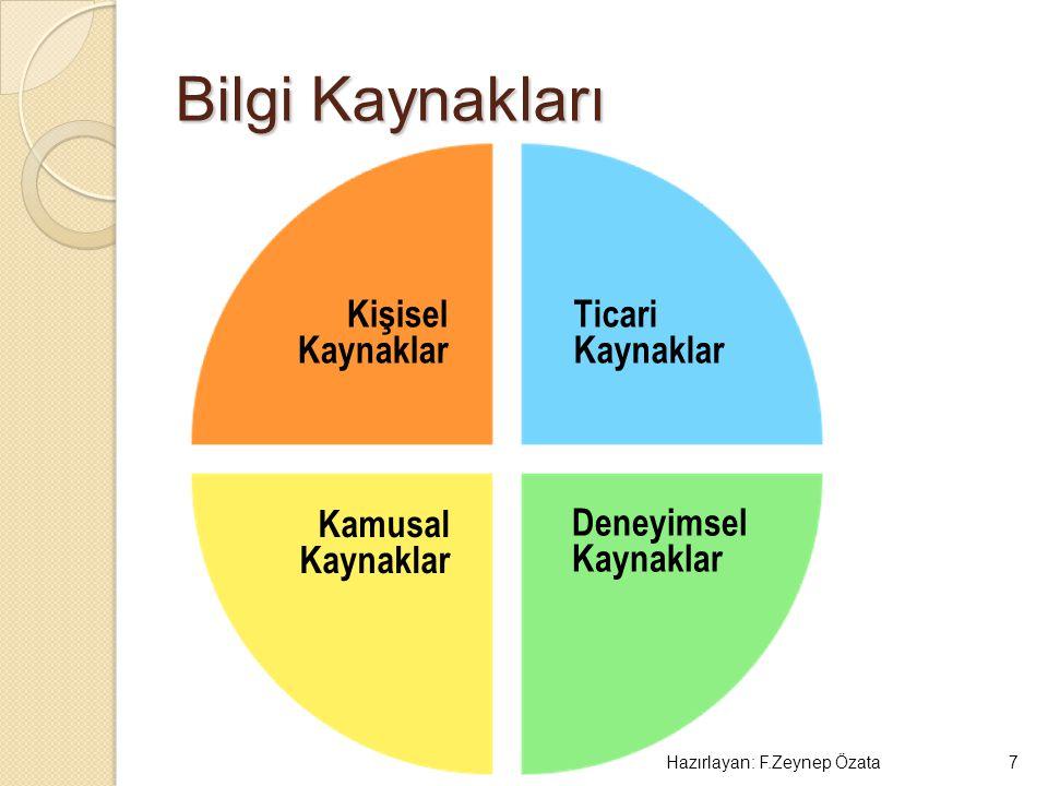 Bilgi Kaynakları Hazırlayan: F.Zeynep Özata7 Ticari Kaynaklar Kişisel Kaynaklar Kamusal Kaynaklar Deneyimsel Kaynaklar