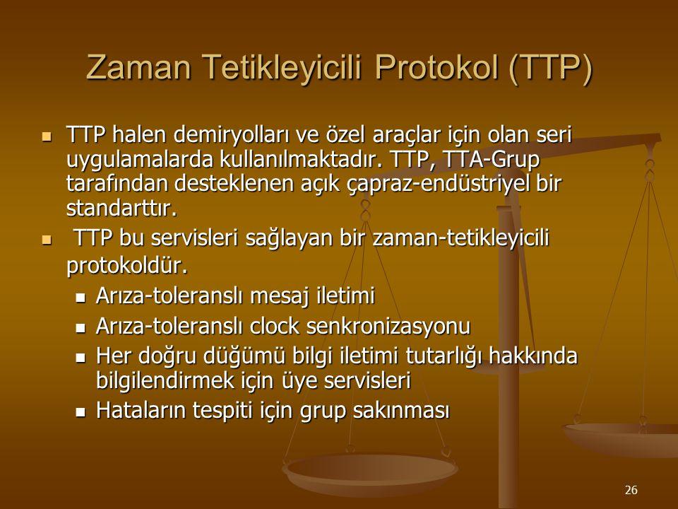 26 Zaman Tetikleyicili Protokol (TTP) TTP halen demiryolları ve özel araçlar için olan seri uygulamalarda kullanılmaktadır. TTP, TTA-Grup tarafından d