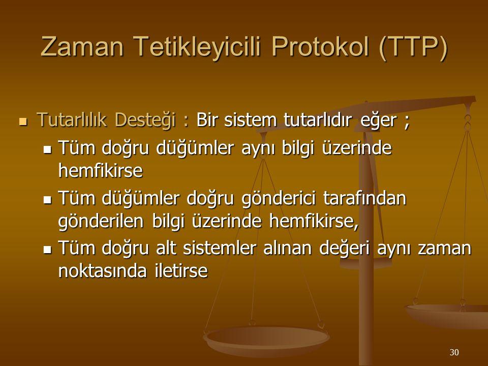 30 Zaman Tetikleyicili Protokol (TTP) Tutarlılık Desteği : Bir sistem tutarlıdır eğer ; Tutarlılık Desteği : Bir sistem tutarlıdır eğer ; Tüm doğru dü