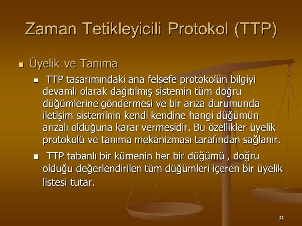 31 Zaman Tetikleyicili Protokol (TTP) Üyelik ve Tanıma Üyelik ve Tanıma TTP tasarımındaki ana felsefe protokolün bilgiyi devamlı olarak dağıtılmış sis