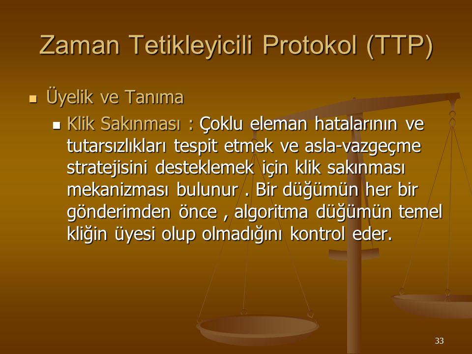 33 Zaman Tetikleyicili Protokol (TTP) Üyelik ve Tanıma Üyelik ve Tanıma Klik Sakınması : Çoklu eleman hatalarının ve tutarsızlıkları tespit etmek ve a