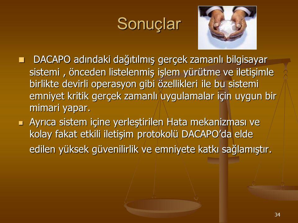 34 Sonuçlar DACAPO adındaki dağıtılmış gerçek zamanlı bilgisayar sistemi, önceden listelenmiş işlem yürütme ve iletişimle birlikte devirli operasyon g
