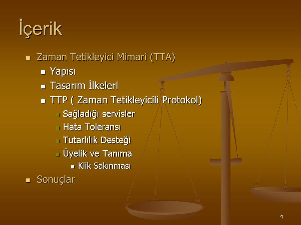 25 TTA : Tasarım İlkeleri Oluşturulabilirlik : Bu mimari eğer aşağıdaki ilkeleri temin edebilirse oluşturulabilir olarak nitelendirilir.
