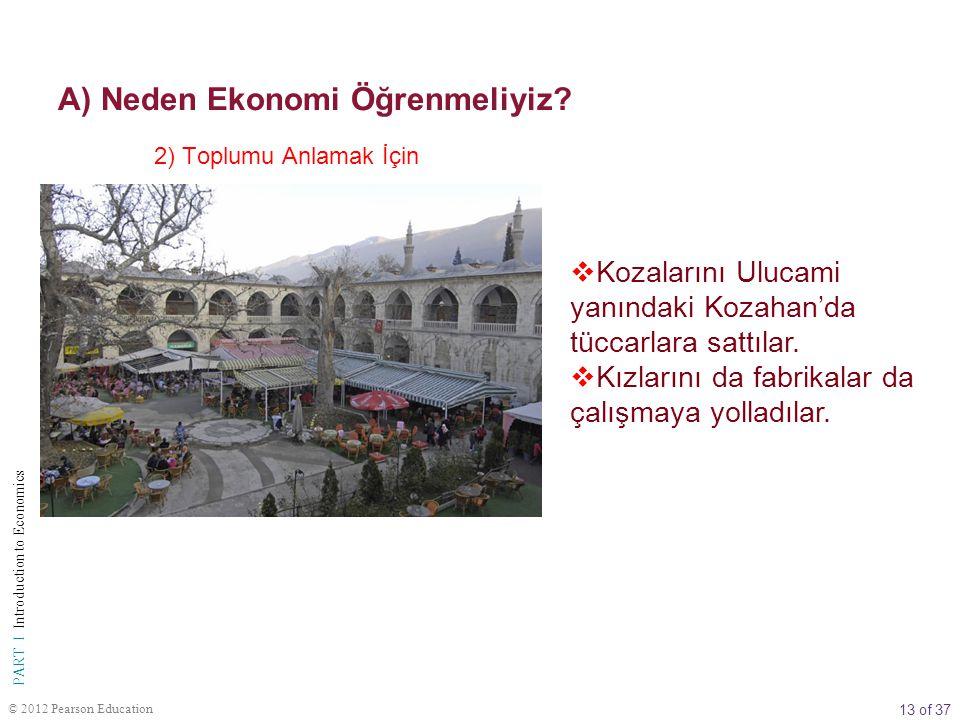 13 of 37 PART I Introduction to Economics © 2012 Pearson Education  Kozalarını Ulucami yanındaki Kozahan'da tüccarlara sattılar.  Kızlarını da fabri