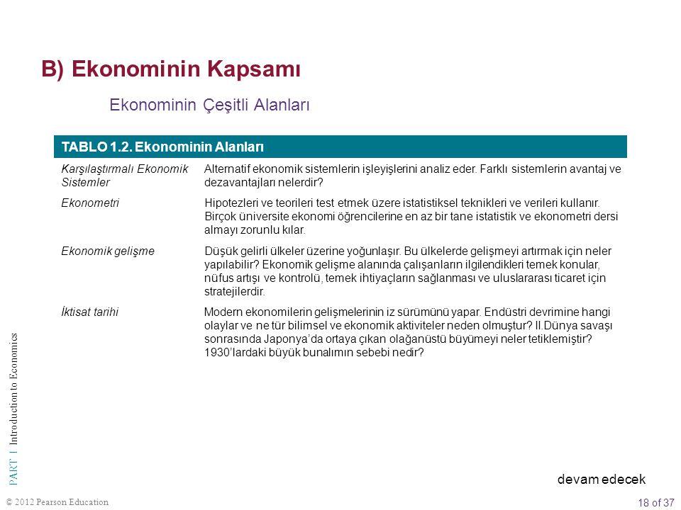18 of 37 PART I Introduction to Economics © 2012 Pearson Education Ekonominin Çeşitli Alanları TABLO 1.2. Ekonominin Alanları Karşılaştırmalı Ekonomik