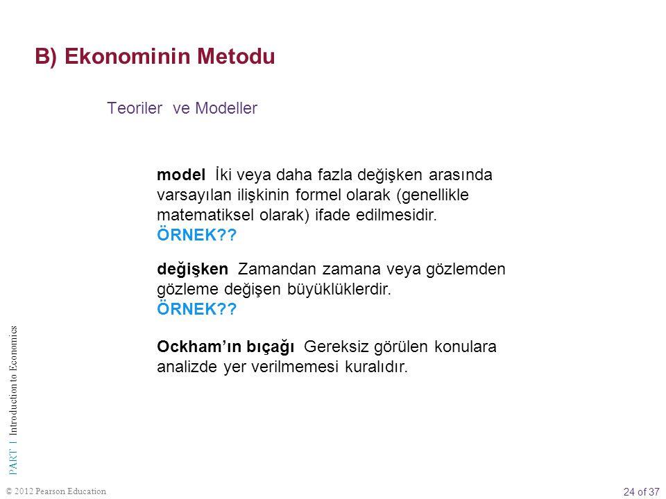 24 of 37 PART I Introduction to Economics © 2012 Pearson Education Teoriler ve Modeller model İki veya daha fazla değişken arasında varsayılan ilişkin