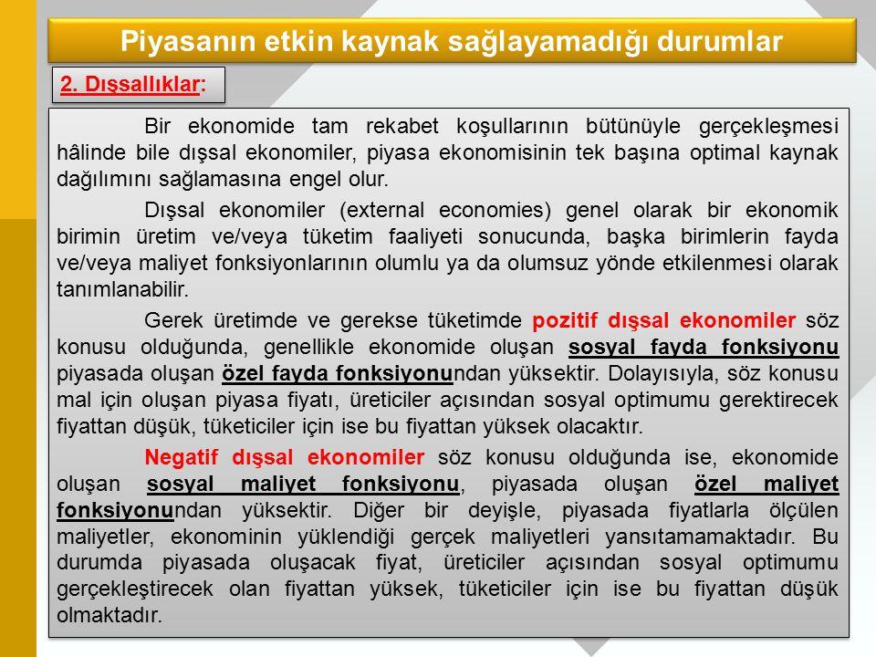 Dışsallık Parasal Dışsallıklar Herhangi bir ekonomik birim faaliyetinin fiyat sisteminden geçerek diğer ekonomik birimler üzerinde oluşturdukları etkilere parasal veya vasıtalı dışsallıklar denilmektedir.